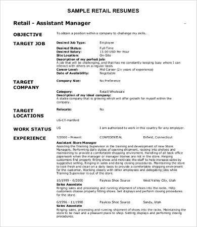10 Sample Retail Resume Templates