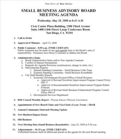 Board Meeting Agenda Template - 8+Free Word, Pdf Documents