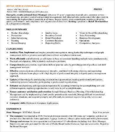 Sample Retail Resumes   Free Word Pdf Documents Download