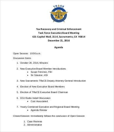 executive board meeting agenda template