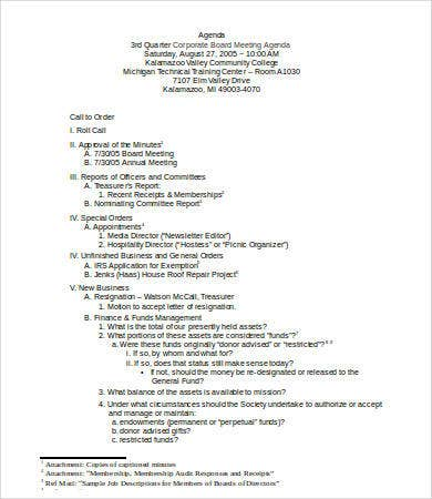 Board Meeting Agenda Template  Free Word Pdf Documents