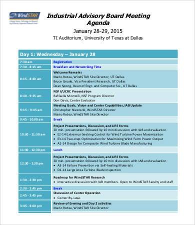 advisory board meeting agenda template
