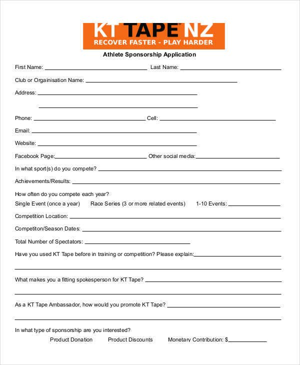 athlete sponsorship application