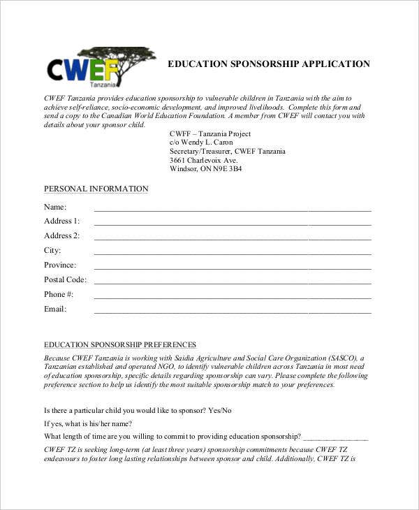 education sponsorship application sample