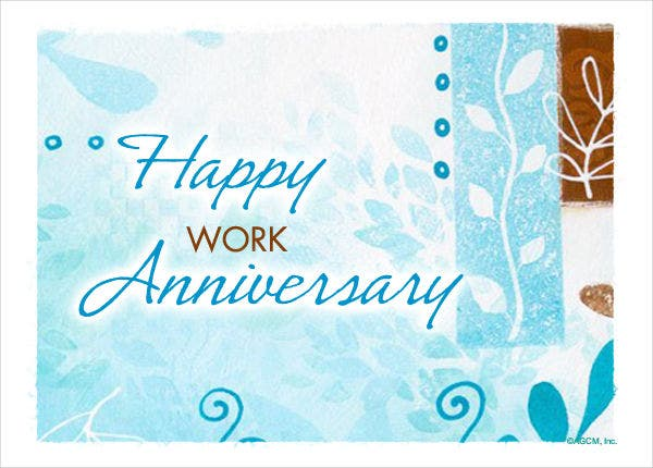 9 work anniversary cards free sample example format for Work anniversary certificate templates