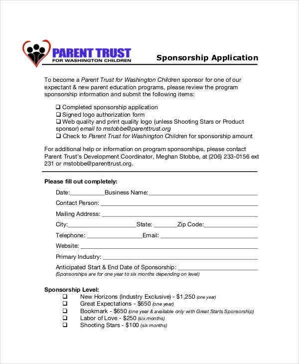 parent sponsorship application template