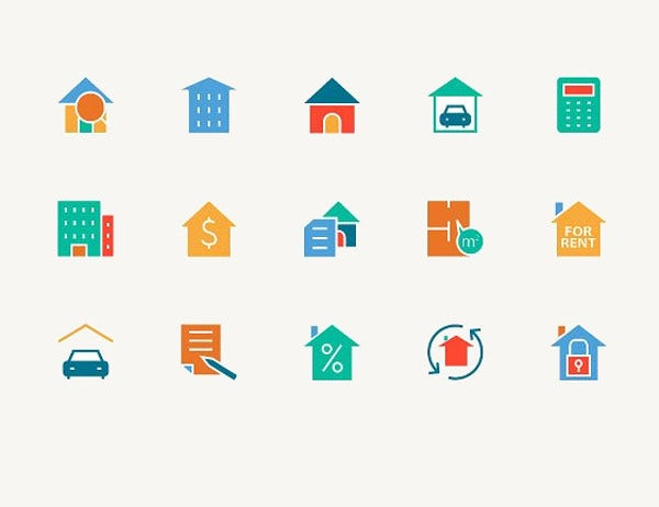 Real Estate Colored Icons