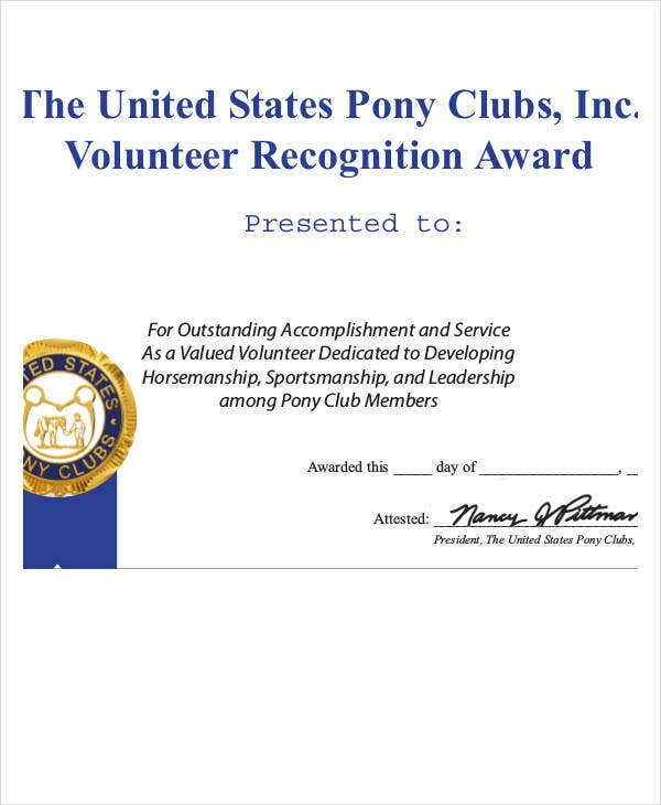 Recognition award templates 8 free word excel pdf for Volunteer recognition certificate template