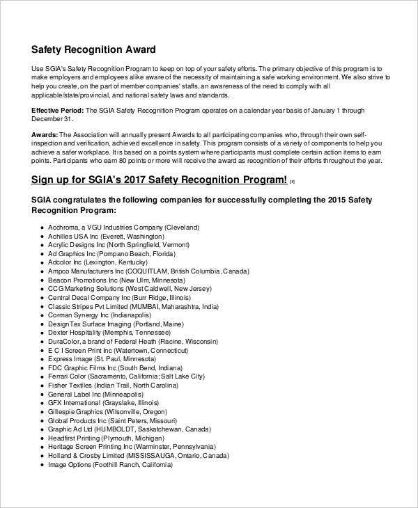 safety recognition award template