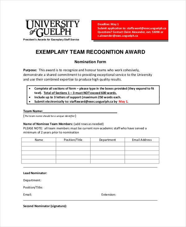 team recognition award template