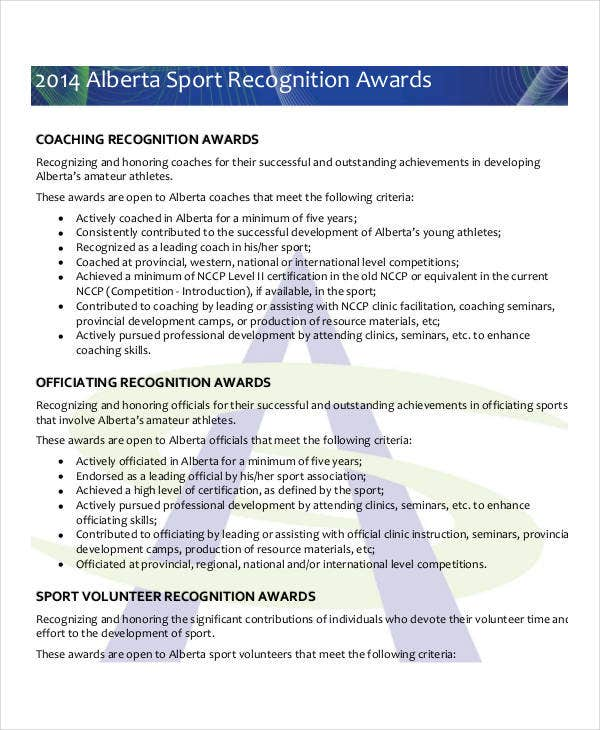 sports recognition award template