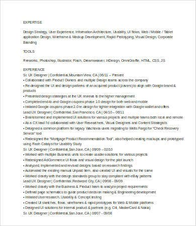 Ux Designer Resume 8 Free Word Pdf Documents Download