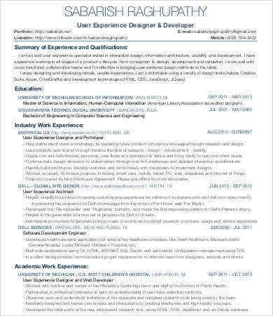 Interaction UX Designer Resume  User Experience Designer Resume