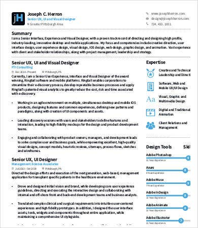 Perfect Visual UX Designer Resume