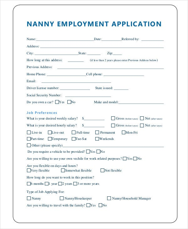Nanny Application Templates   Free WordPdf Document Download