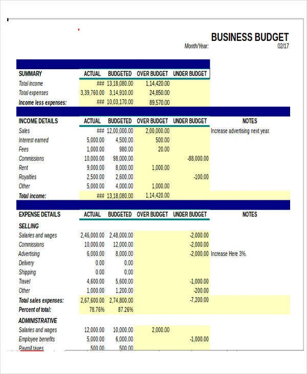 excel small business budget template