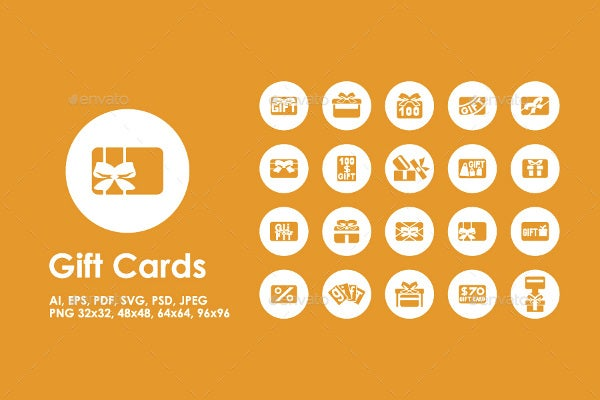 flat gift card icons