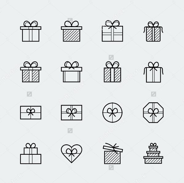 line Style Vector Gift Icons