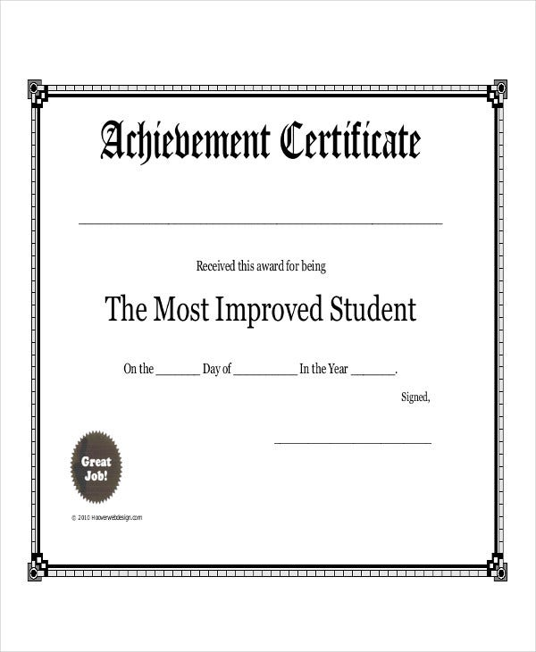 Student award templates 9 free word excel pdf documents student achievement award template yadclub Images