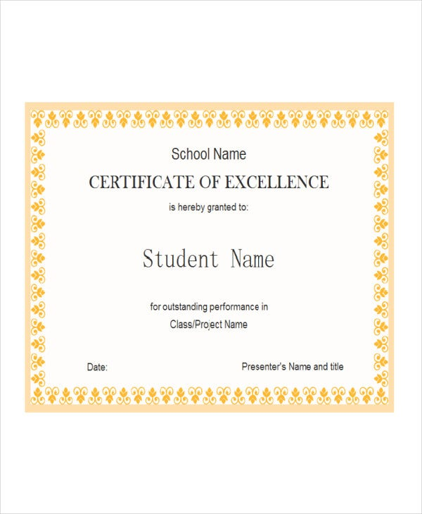 Student Award Templates   Free Word Excel Pdf Documents