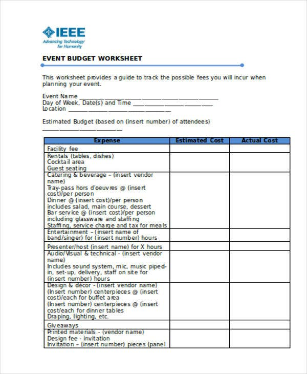 Operating Budget Templates – Non Profit Budget Template
