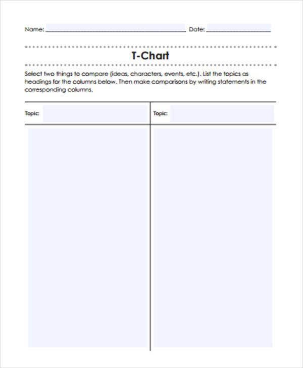 t chart template for kindergarten