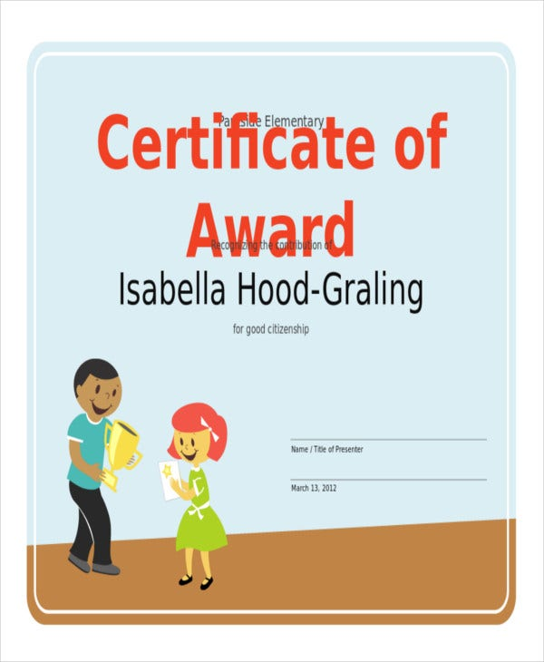 elementary student award template