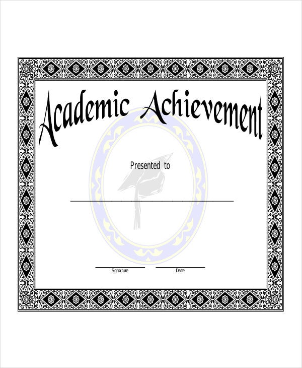 academic certificate template sample