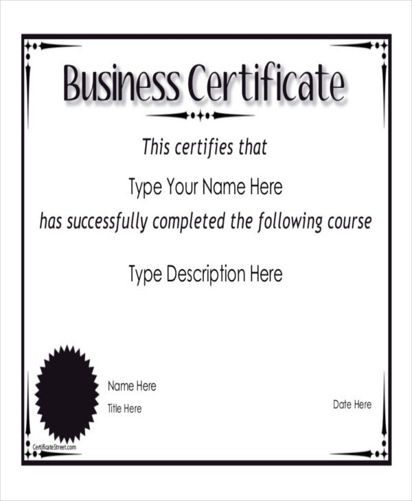 9 Sample Certificate Templates Free Sample Example Format – Business Certificate Templates