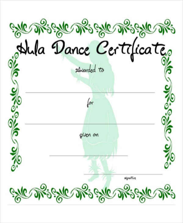 dance certificate template example