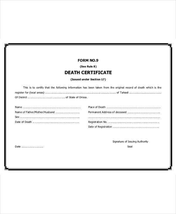 9 death certificate template free sample example format download