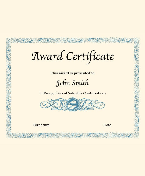 blank certificate template for word