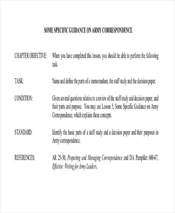 Army Memo Template Sample Army Memo Template  Free Pdf Documents