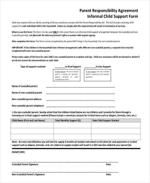 informal child support agreement template