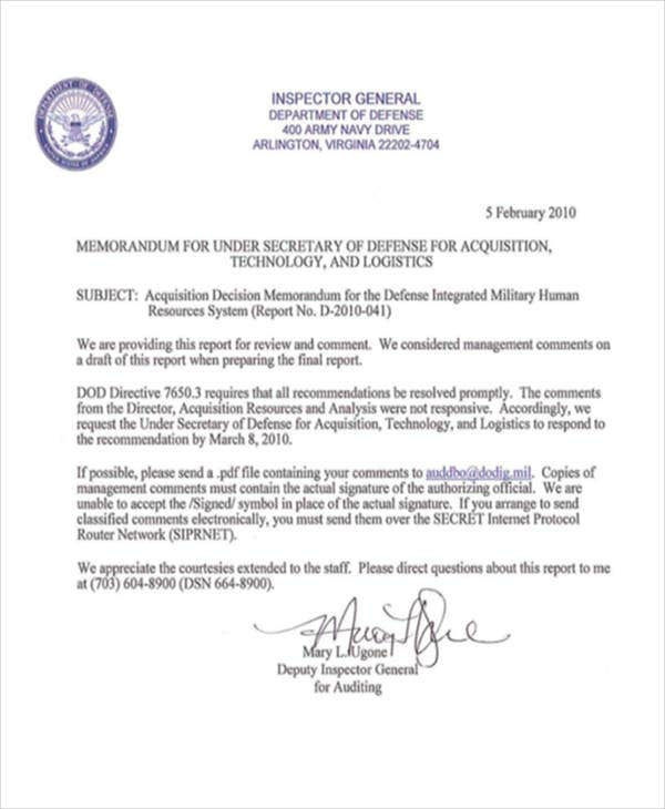 army decision memorandum template