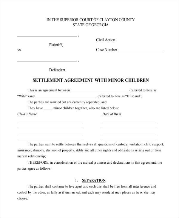 Child Support Settlement Agreement Template  Mutual Agreement Between Two Parties