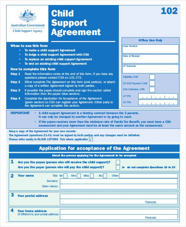 legal child support agreement template