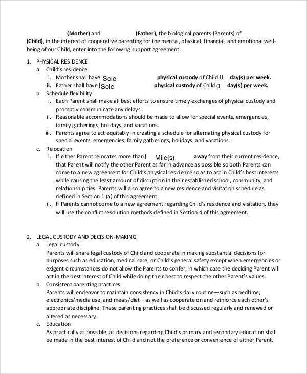 Child Support Agreement Template - 6+ Free Word, Pdf Documents