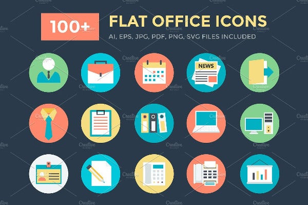 100+ Flat Office Icons