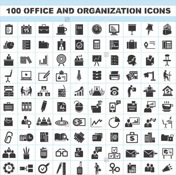 100 office organization icons set