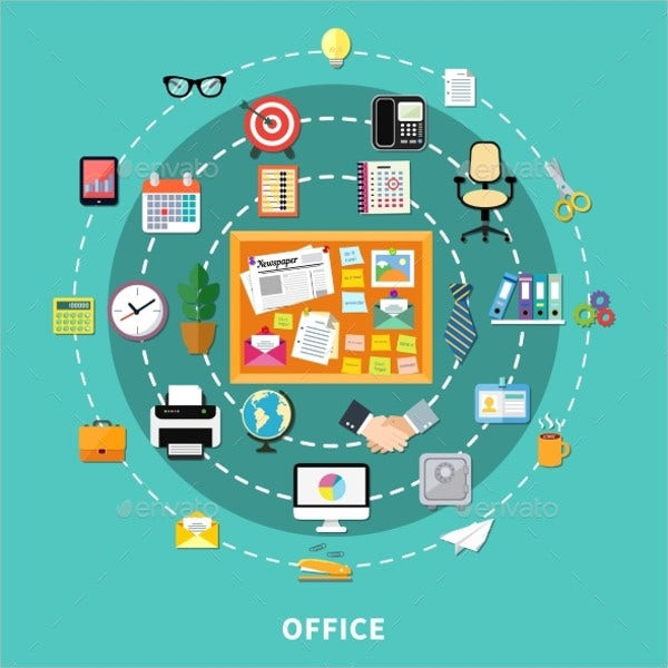 Office Decorative Icons Set