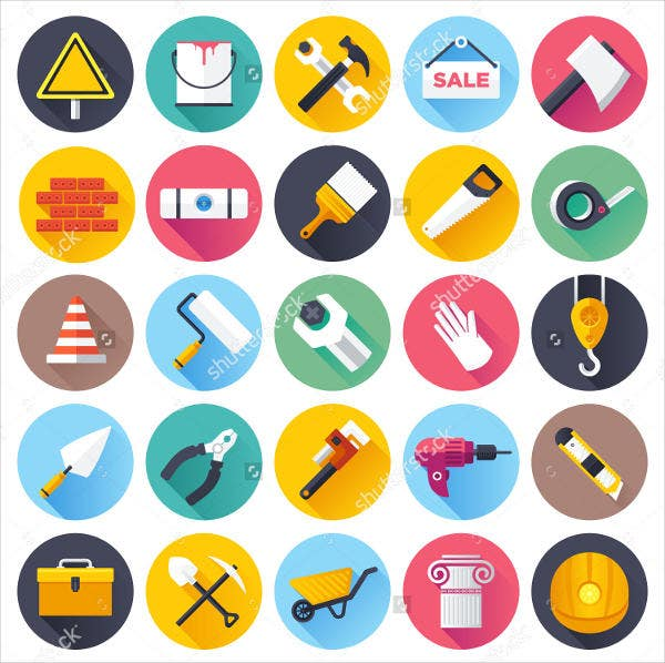 Flat Construction Tool Icons Set