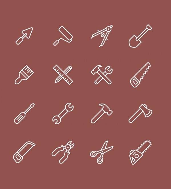 Tool Icons Set with line & Solid Style