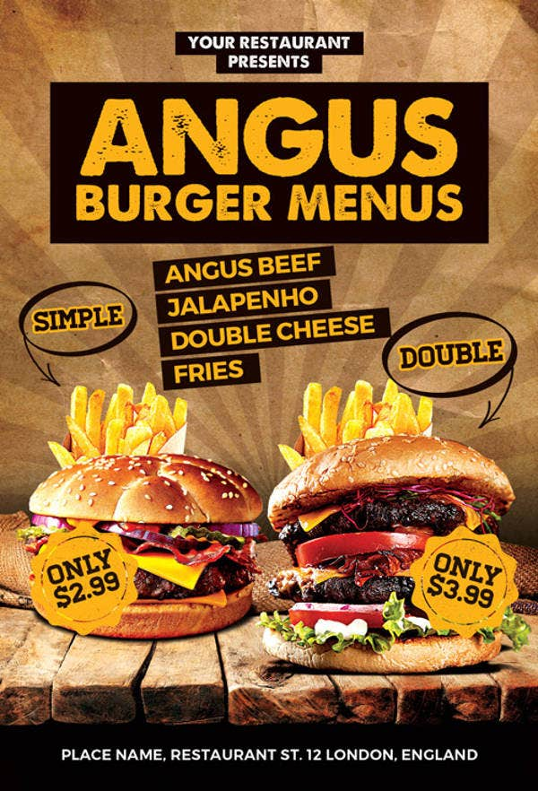 Burgers Offer Food Menu Flyer