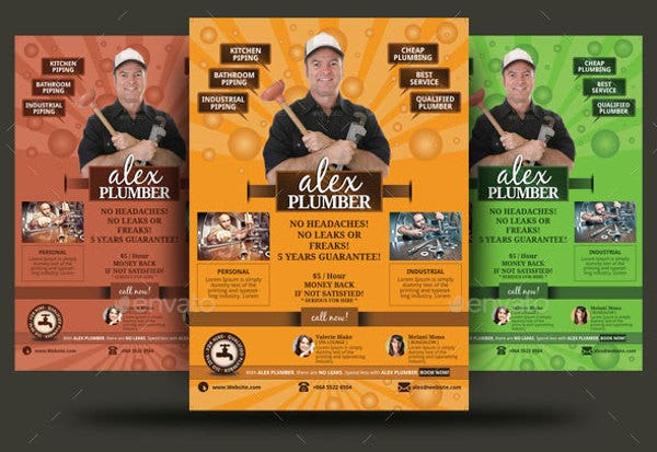 Call-To-Action Plumber Flyer Template