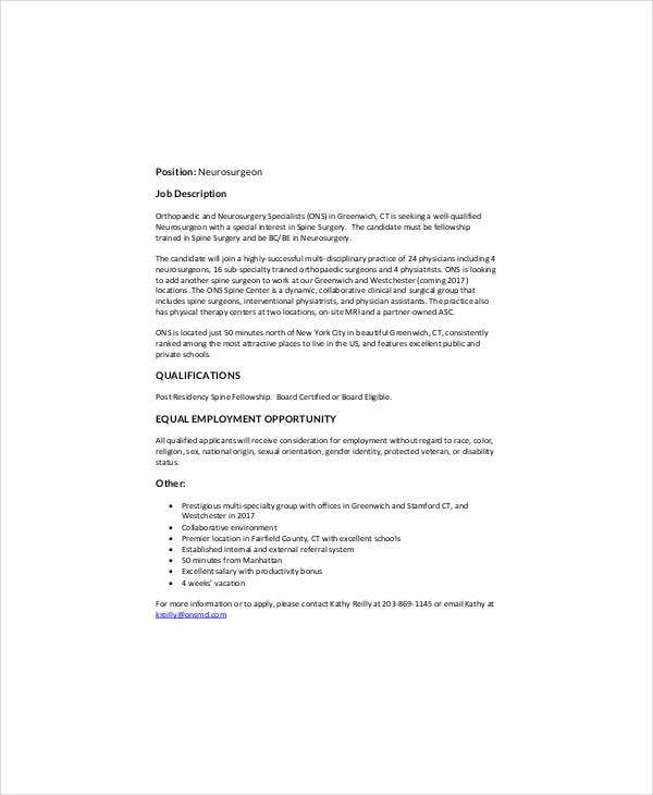 Neurologist Surgeon Job Description