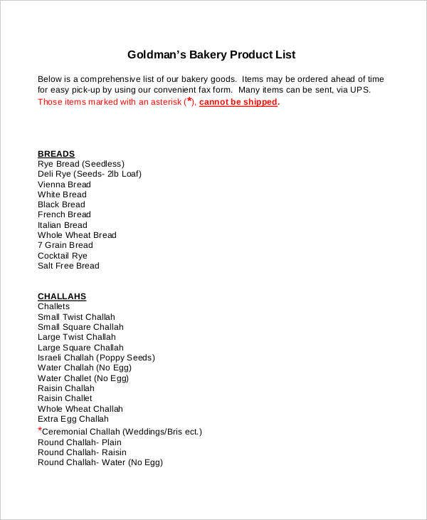 Product list template 9 free pdf documents download free bakery product list template pronofoot35fo Image collections