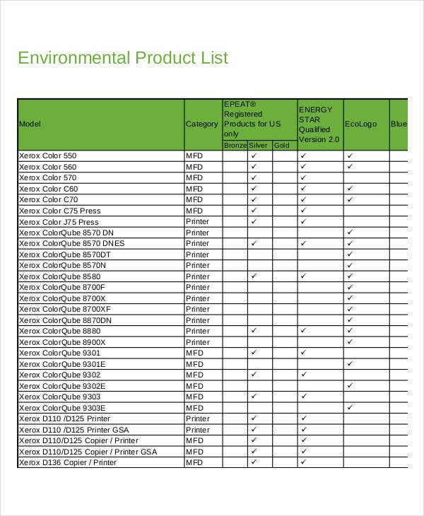 Good Environmental Product List Template Idea Product List Template
