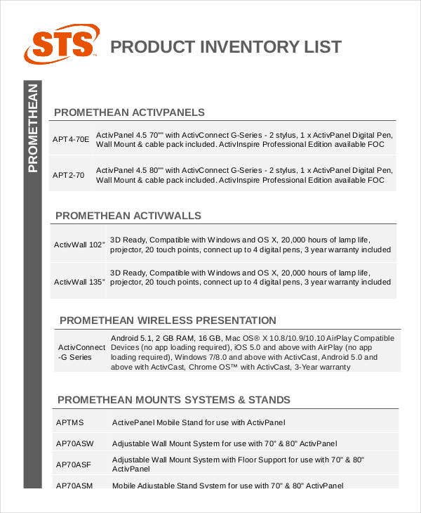 product inventory list template