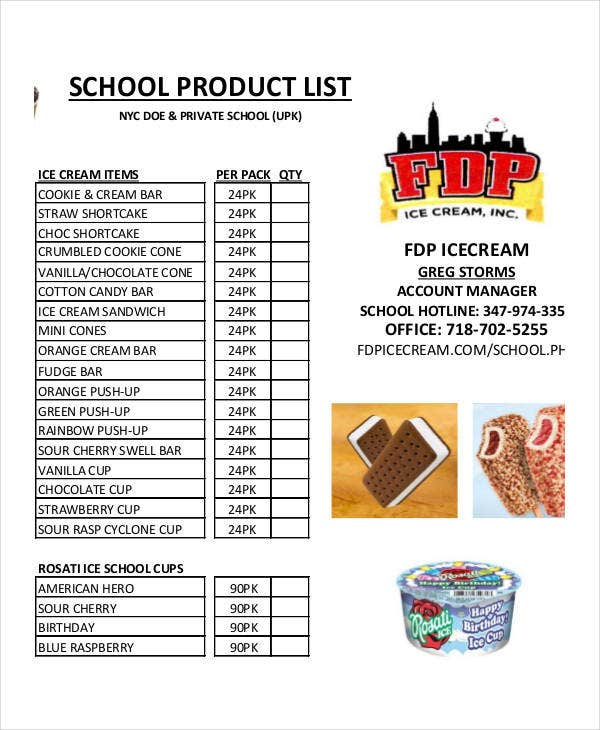 product list template for school